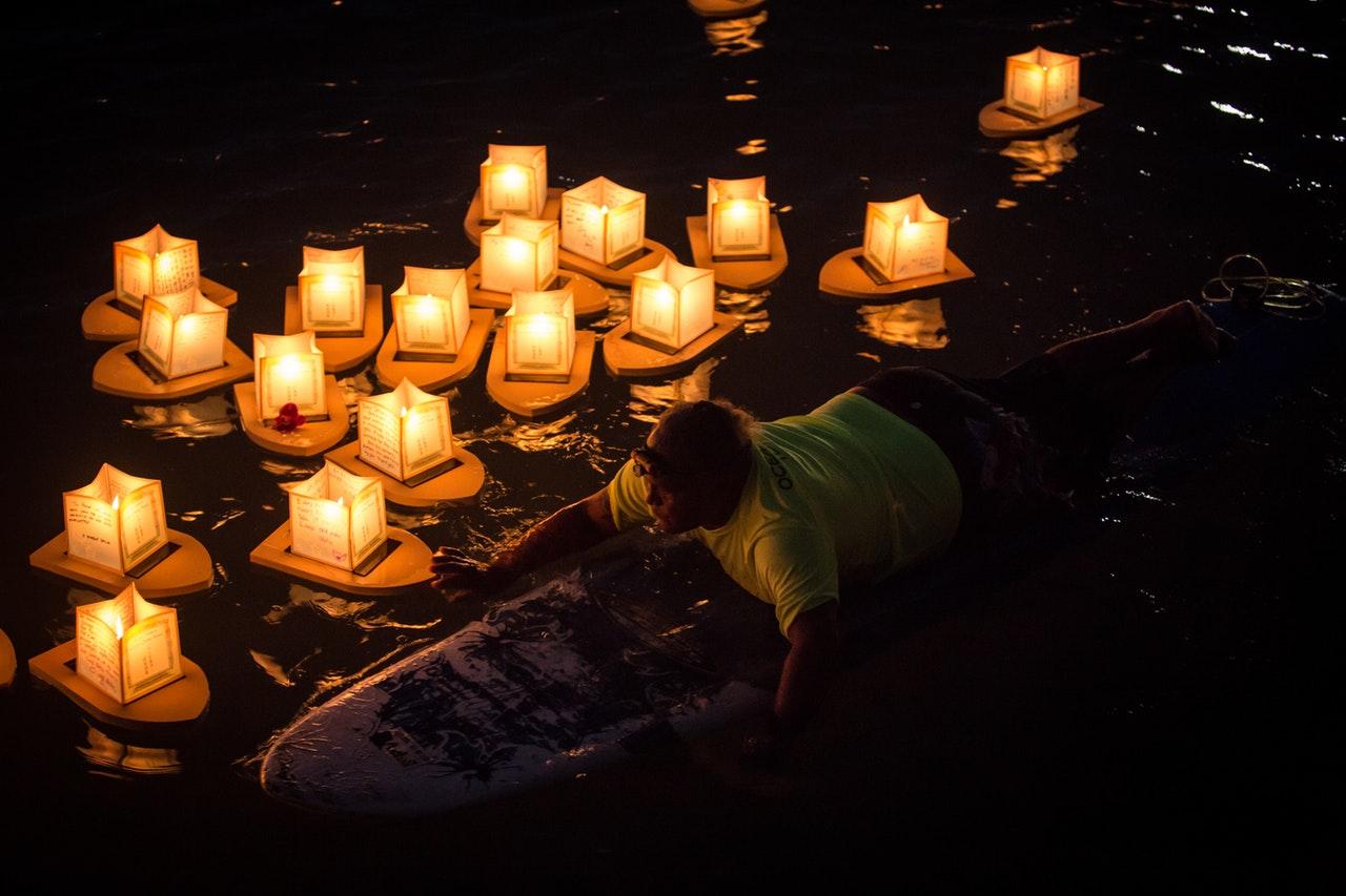 water lanterns at the water lantern festival in ypsilanti